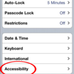Screen shot of Accessibility Settings in iOS